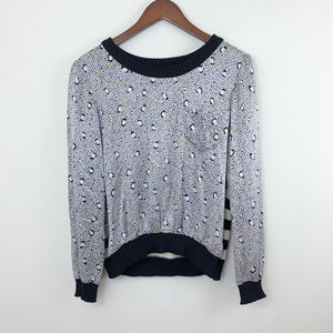 Anthropologie Penguin Print Silk Wool Sweater
